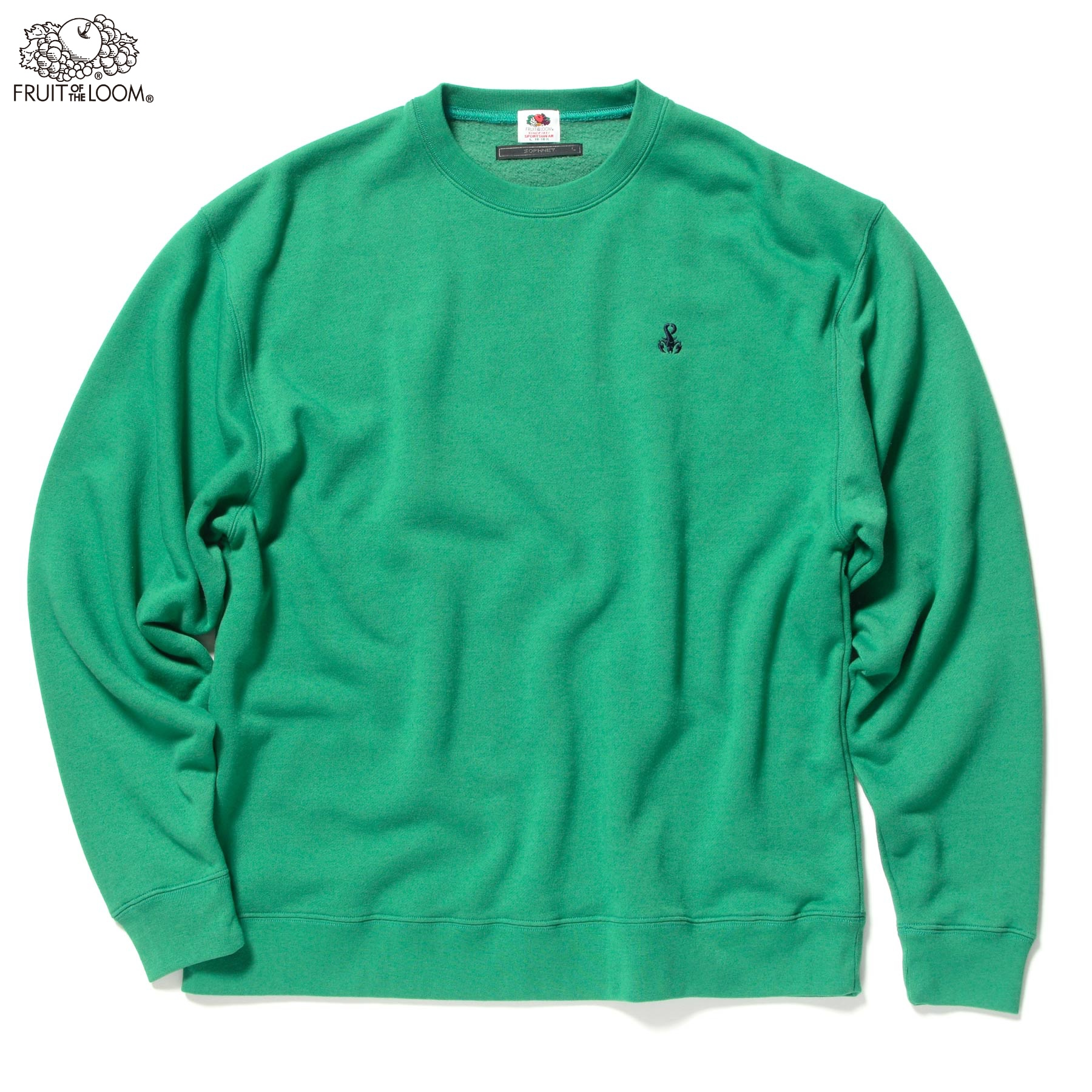 soph fruit of the loom authentic crew neck sweat m green